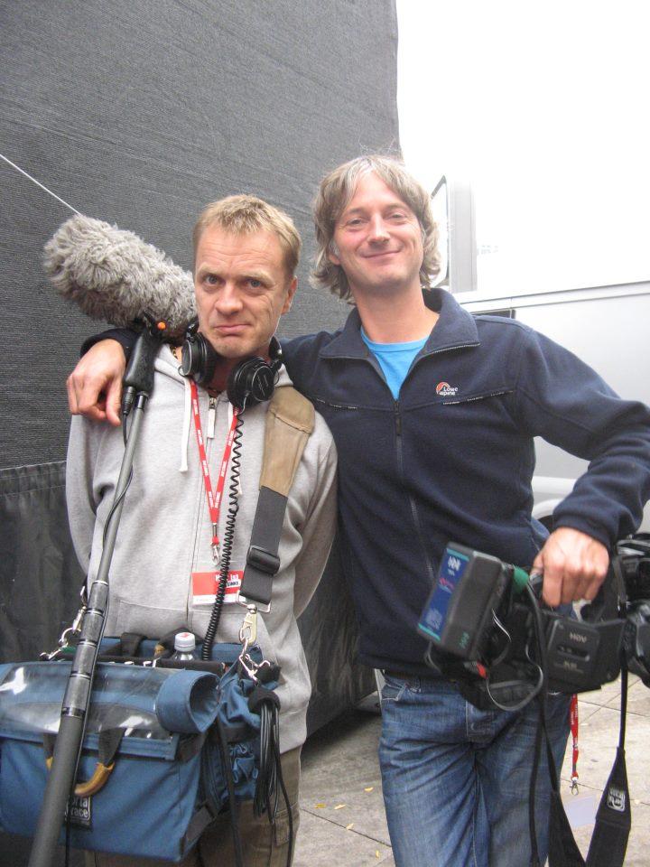 Filmploeg van Frank van Osch in Berlijn